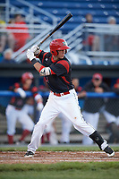 Batavia Muckdogs third baseman Tyler Curtis (11) at bat during a game against the West Virginia Black Bears on June 26, 2017 at Dwyer Stadium in Batavia, New York.  Batavia defeated West Virginia 1-0 in ten innings.  (Mike Janes/Four Seam Images)