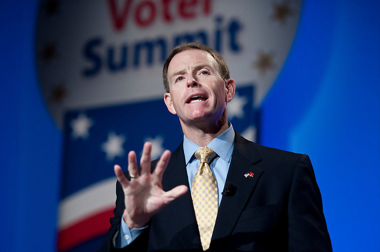 UNITED STATES - SEPTEMBER 17: Tony Perkins, president of the Family Research Council, speaks at the FRC's Values Voter Summit in Washington on Friday, Sept. 17, 2010. (Photo By Bill Clark/Roll Call via Getty Images)