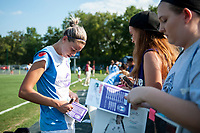 Kansas City, MO - Wednesday August 16, 2017: fan, fans, Alanna Kennedy during a regular season National Women's Soccer League (NWSL) match between FC Kansas City and the Orlando Pride at Children's Mercy Victory Field.