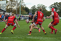 Matt Eliet of London Scottish looks for a way through the Hartpury RFC defence during the Greene King IPA Championship match between London Scottish Football Club and Hartpury RFC at Richmond Athletic Ground, Richmond, United Kingdom on 28 October 2017. Photo by David Horn.