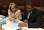 Nevada Sens. Barbara Cegavske, R-Las Vegas, and Steven Horsford, D-North Las Vegas, work in committee Thursday morning, May 5, 2011, at Western Nevada College in Carson City, Nev..Photo by Cathleen Allison