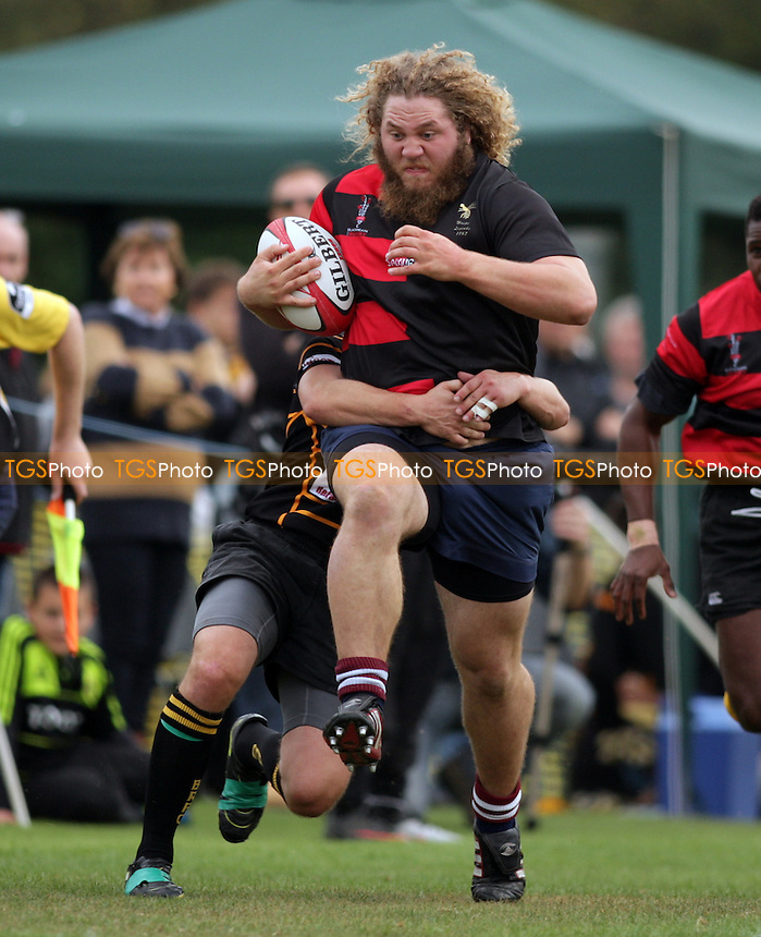 Current Blackheath prop James Clevery rampaging through the Bromley defence - Bromley RFC XV vs Wasps & Blackheath Past Legends XV - Legends Rugby Match at Bromley RFC, Hayes, Kent - 16/10/11 - MANDATORY CREDIT: Helen Watson/TGSPHOTO - Self billing applies where appropriate - 0845 094 6026 - contact@tgsphoto.co.uk - NO UNPAID USE.