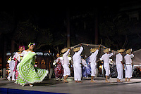 Folk dancers performing the traditional Los Pescadores dance in the Plaza de Armas, Veracruz, Mexico