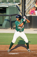 Carlos Lopez (7) of the Greensboro Grasshoppers at bat against the Kannapolis Intimidators at CMC-Northeast Stadium on June 14, 2014 in Kannapolis, North Carolina.  The Grasshoppers defeated the Intimidators 4-2.  (Brian Westerholt/Four Seam Images)
