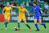 26th March 2018, nib Stadium, Perth, Australia; Womens International football friendly, Australia Women versus Thailand Women; Alanna Kennedy of the Matildas controls the ball in front of Suchawadee Nildhamrong of Thailand