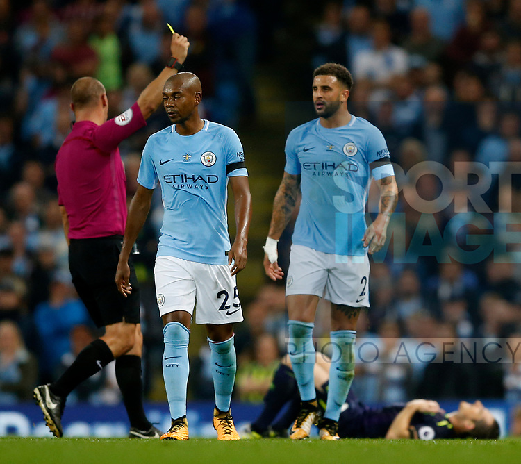 Kyle Walker of Manchester City receives his first yellow card during the Premier League match at the Eithad Stadium, Manchester. Picture date 21st August 2017. Picture credit should read: Simon Bellis/Sportimage