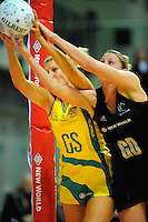Diamonds goalshoot Catherine Cox competes for the ball with Casey Williams. International Netball  - New Zealand Silver Ferns v Australian Diamonds Constellation Cup match at TSB Bank Arena, Wellington on Thursday, 2 September 2010. Photo: Dave Lintott/lintottphoto.co.nz