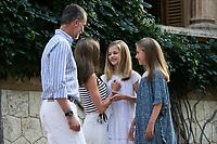 King of Spain Felipe VI, Queen of Spain Letizia Ortiz, Princess Leonor (R) and Princess Sofia (2R)