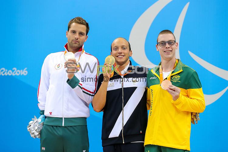 Picture by Rogan Thomson/SWpix.com - 11/09/2016 - 2016 Rio Paralympic Games - Swimming - Olympic Aquatics Centre, Rio de Janeiro, Brazil - Timothy Disken of Australia (R) wins Bronze in the Men's 200m IM SM9 Final.