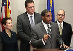 Nevada Senate Majority Leader Steven Horsford, D-North Las Vegas, speaks at a press conference Thursday, Feb. 24, 2011, at the Legislature in Carson City, Nev. Democrat leaders, from left, Sen. Valerie Wiener, Assembly Speaker John Oceguera and Sen. Mo Denis, all D-Las Vegas, also participated in the press conference. .Photo by Cathleen Allison
