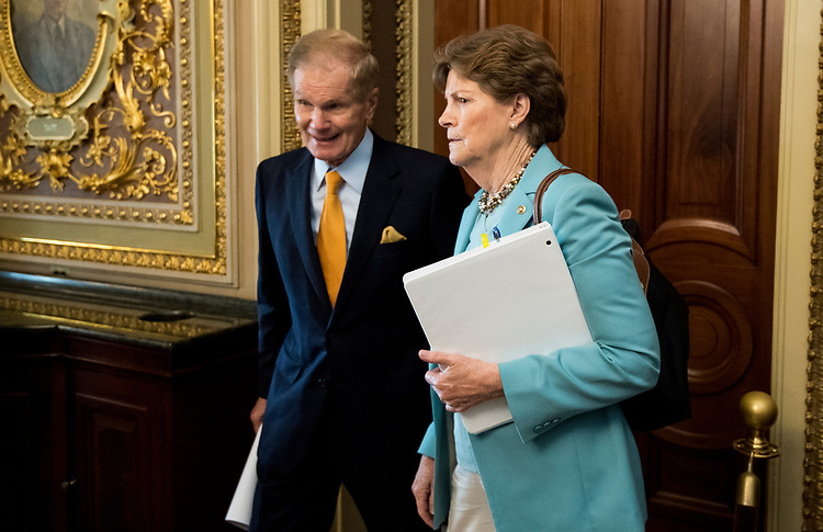 UNITED STATES - JULY 31: Sen. Bill Nelson, D-Fla., and Sen. Jeanne Shaheen, D-N.H., talk as they leave the Senate Democrats' policy lunch in the Capitol on Tuesday, July 31, 2018. (Photo By Bill Clark/CQ Roll Call)