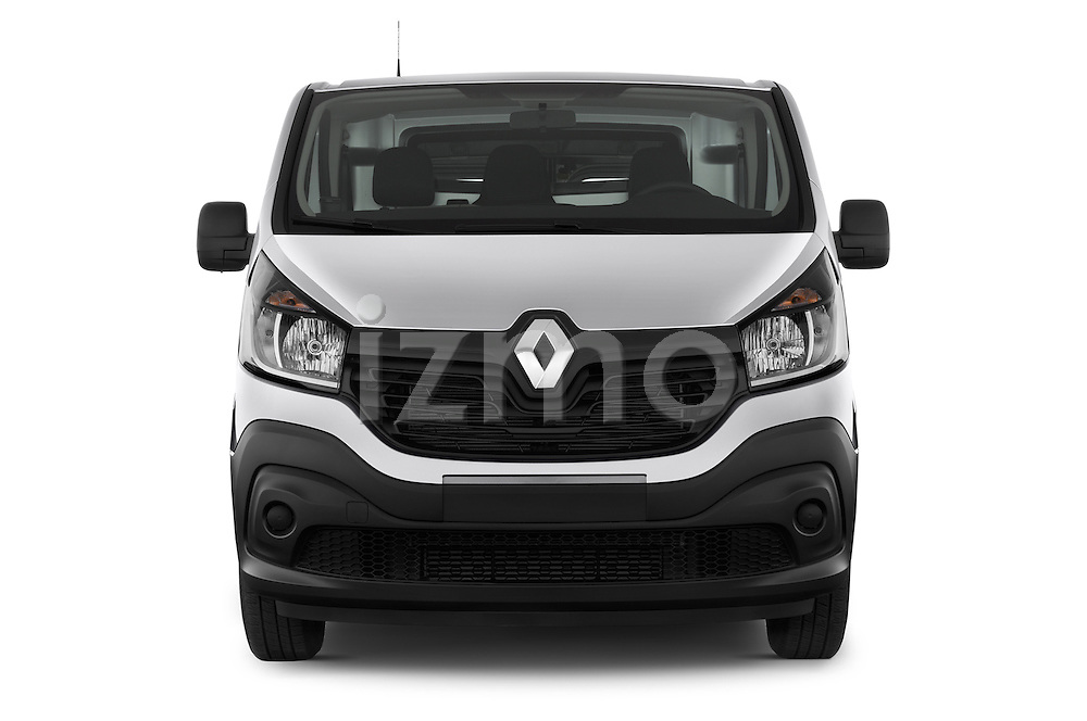 Car photography straight front view of a 2015 Renault Trafic Fourgon Extra L1H1 dCi 120 TT S&S 2.7T 4 Door Cargo Van 2WD Front View