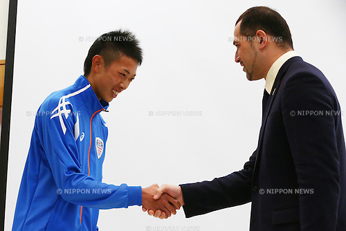 (L-R)<br /> Yuji Hiramatsu,<br /> Koji Murofushi,<br /> JANUARY 9, 2015 - Athletic : <br /> Certification ceremony of Diamond athletes is held at Ajinomoto National Training Center, Tokyo, Japan.<br /> Diamond athletes is players who would play an active part in Tokyo Olympic 2020.<br /> (Photo by Shingo Ito/AFLO SPORT) [1195]
