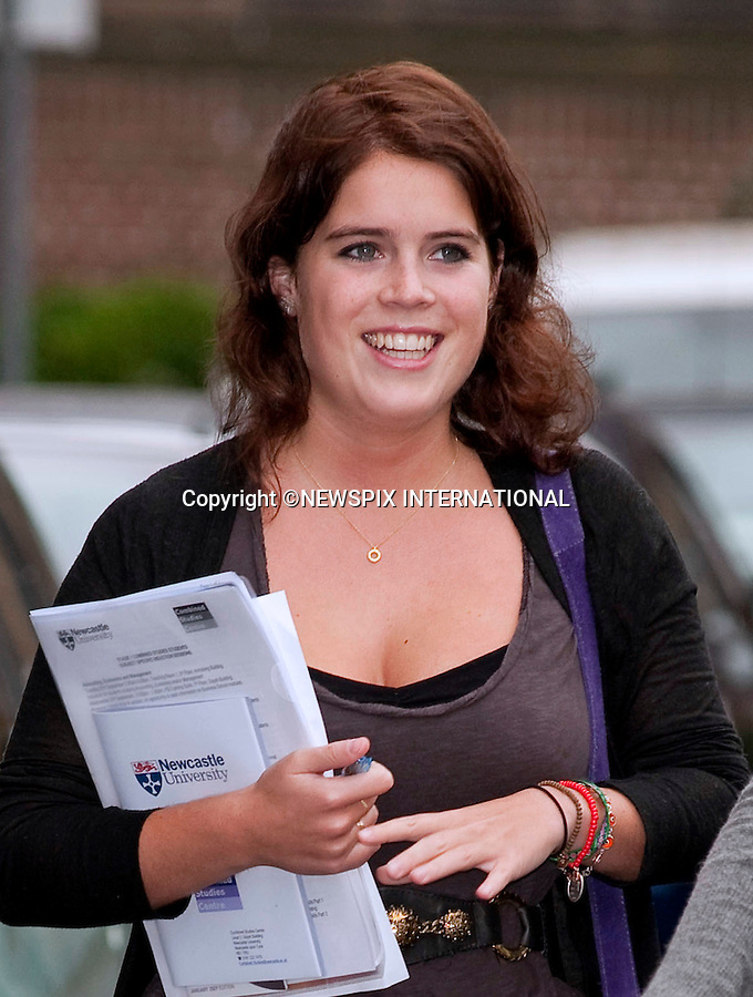 """PRINCESS EUGENIE.Starts her first day at Newcastle University. The Princess is taking Combined Studies - English Literature, History of Art and Politics. Newcastle, UK_24/09/2009..Mandatory Photo Credit: ©Dias/Newspix International..**ALL FEES PAYABLE TO: """"NEWSPIX INTERNATIONAL""""**..PHOTO CREDIT MANDATORY!!: NEWSPIX INTERNATIONAL(Failure to credit will incur a surcharge of 100% of reproduction fees)..IMMEDIATE CONFIRMATION OF USAGE REQUIRED:.Newspix International, 31 Chinnery Hill, Bishop's Stortford, ENGLAND CM23 3PS.Tel:+441279 324672  ; Fax: +441279656877.Mobile:  0777568 1153.e-mail: info@newspixinternational.co.uk"""