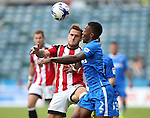 Gillingham's Ryan Jackson tussles with Sheffield United's Billy Sharp during the League One match at the Priestfield Stadium, Gillingham. Picture date: September 4th, 2016. Pic David Klein/Sportimage