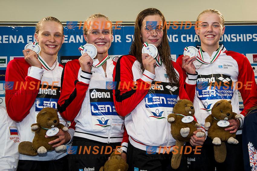 Team Denmark DEN<br /> 4X100 Freestyle Relay Women Final Gold Medal<br /> LEN 43rd Arena European Junior Swimming Championships<br /> Hodmezovasarhely, Hungary <br /> Day01 06-07-2016<br /> Photo Andrea Masini/Deepbluemedia/Insidefoto