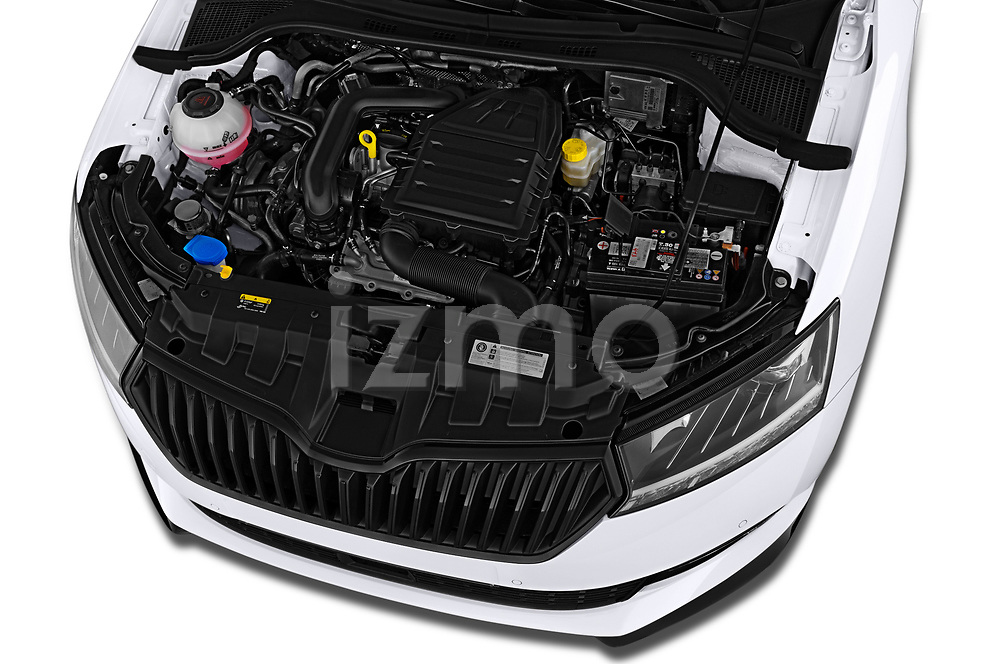 Car stock 2019 Skoda Fabia Monte Carlo 5 Door Hatchback engine high angle detail view