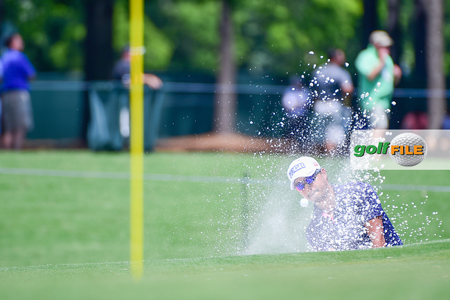 Satoshi Kodaira (JPN) chips from the trap on 4 during Thursday's round 1 of the PGA Championship at the Quail Hollow Club in Charlotte, North Carolina. 8/10/2017.<br /> Picture: Golffile | Ken Murray<br /> <br /> <br /> All photo usage must carry mandatory copyright credit (&copy; Golffile | Ken Murray)