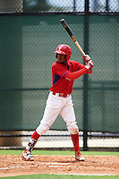 GCL Phillies second baseman Daniel Brito (21) at bat during a game against the GCL Braves on August 3, 2016 at the Carpenter Complex in Clearwater, Florida.  GCL Phillies defeated GCL Braves 4-3 in a rain shortened six inning game.  (Mike Janes/Four Seam Images)