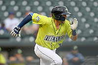 Second baseman Blake Tiberi (3) of the Columbia Fireflies runs out a batted ball in a game against the Greenville Drive on Friday, May 25, 2018, at Spirit Communications Park in Columbia, South Carolina. Columbia won, 3-1. (Tom Priddy/Four Seam Images)