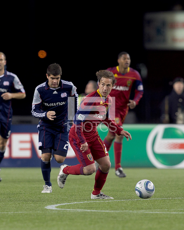 Real Salt Lake midfielder Ned Grabavoy (20) at midfield. In a Major League Soccer (MLS) match, Real Salt Lake defeated the New England Revolution, 2-0, at Gillette Stadium on April 9, 2011.
