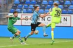 05.08.2019, Carl-Benz-Stadion, Mannheim, GER, 3. Liga, SV Waldhof Mannheim vs. TSV 1860 Muenchen, <br /> <br /> DFL REGULATIONS PROHIBIT ANY USE OF PHOTOGRAPHS AS IMAGE SEQUENCES AND/OR QUASI-VIDEO.<br /> <br /> im Bild:  Dennis Erdmann (TSV 1860 Muenchen #13) und Hendrik Bonmann (TSV 1860 Muenchen #39) gegen Valmir Sulejmani (SV Waldhof Mannheim #9)<br /> <br /> Foto © nordphoto / Fabisch