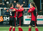 Forfar Athletic v St Johnstone....08.02.14   Scottish Cup 5th Round<br /> Michael O'Halloran celebrates his goal with Paddy Cregg<br /> Picture by Graeme Hart.<br /> Copyright Perthshire Picture Agency<br /> Tel: 01738 623350  Mobile: 07990 594431