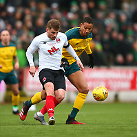9th February 2020; Broadwood Stadium, Cumbernauld, North Lanarkshire, Scotland; Scottish Cup Football, Clyde versus Celtic; David Goodwillie of Clyde clears from Christopher Jullien of Celtic