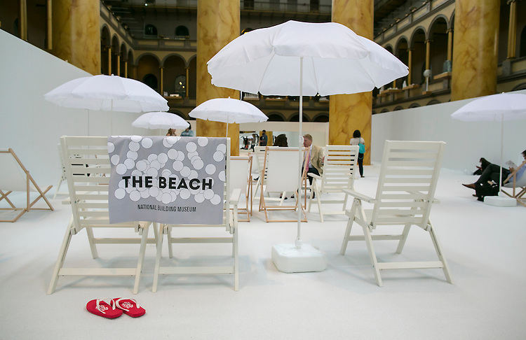 "UNITED STATES - JULY 1 - The Beach,"" an interactive architectural installation that features a 10,000 feet ""ocean"" of nearly one million recyclable plastic balls, is seen during a media tour at the National Building Museum in Washington on Thursday, June 2, 2015. (Photo By Al Drago/CQ Roll Call)"