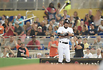 Ichiro Suzuki (Marlins),<br /> APRIL 8, 2015 - MLB :<br /> Ichiro Suzuki of the Miami Marlins stands on first base after bunting for a single in the seventh inning during the Major League Baseball game against the Atlanta Braves at Marlins Park in Miami, Florida, United States. (Photo by AFLO)