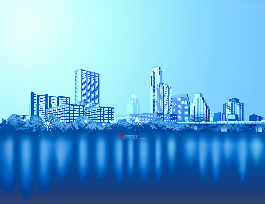 Austin Cityscape Skyline View from Lady Bird Town Lake on Auditorium Shores illustration graphic.