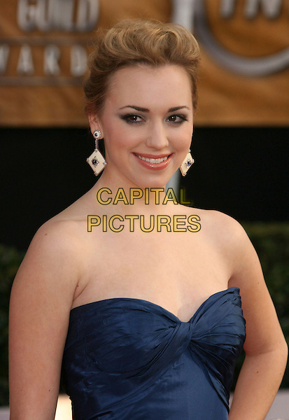 ANDREA BOWEN.14th Annual Screen Actors Guild Awards held at the Shrine Auditorium, Los Angeles, California, USA..January 27th, 2008.arrivals SAG half length blue strapless white cream square dangling earrings.CAP/ADM/RE.©Russ Elliot/AdMedia/Capital Pictures. *** Local Caption *** .