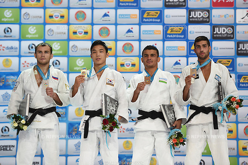 (L-R) Mikhail Pulyaev (RUS), Baul An (KOR), Rishod Sobirov (UZB), Golan Pollack (ISR), AUGUST 25, 2015 - Judo : World Judo Championships Astana 2015 Men's -66kg Medal Ceremony at Alau Ice Palace in Astana, Kazakhstan. (Photo by AFLO SPORT)