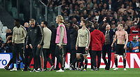 Football Soccer: UEFA Champions UEFA Champions League quarter final second leg Juventus - Ajax, Allianz Stadium, Turin, Italy, March 12, 2019. <br /> Ajax's players and coach Erik Ten Hag (second from right) celebrate after winning 2-1 the Uefa Champions League quarter final second leg against Juventus at the Allianz Stadium, on March 12, 2019.<br /> UPDATE IMAGES PRESS/Isabella Bonotto