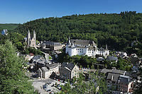Grand Duchy of Luxembourg, View over Clervaux with Abbey of Saint Maurice and Saint Maur and castle