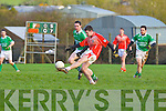 Brosna's Mike Finnegan goes for a score against Blackrock in the Munster Junior B Football final held last Sunday in Knockaderry.