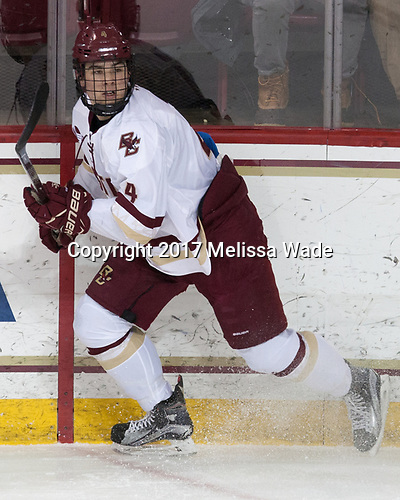 Michael Kim (BC - 4) - The visiting Merrimack College Warriors defeated the Boston College Eagles 6 - 3 (EN) on Friday, February 10, 2017, at Kelley Rink in Conte Forum in Chestnut Hill, Massachusetts.