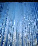 USA, California, Sierra Nevada Mountains. Inside a frozen Waterfall