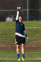 Sky Blue FC goalkeeper Jill Loyden (21) during warmups prior to playing the Western New York Flash. Sky Blue FC defeated the Western New York Flash 1-0 during a National Women's Soccer League (NWSL) match at Yurcak Field in Piscataway, NJ, on April 14, 2013.
