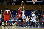 DURHAM, NC - NOVEMBER 30: Ohio State's Stephanie Mavunga (left) shoots over Duke's Leaonna Odom (5). The Duke University Blue Devils hosted the Ohio State Buckeyes on November 30, 2017 at Cameron Indoor Stadium in Durham, NC in a Division I women's college basketball game, and as part of the annual ACC-Big Ten Challenge. Duke won the game 69-60.