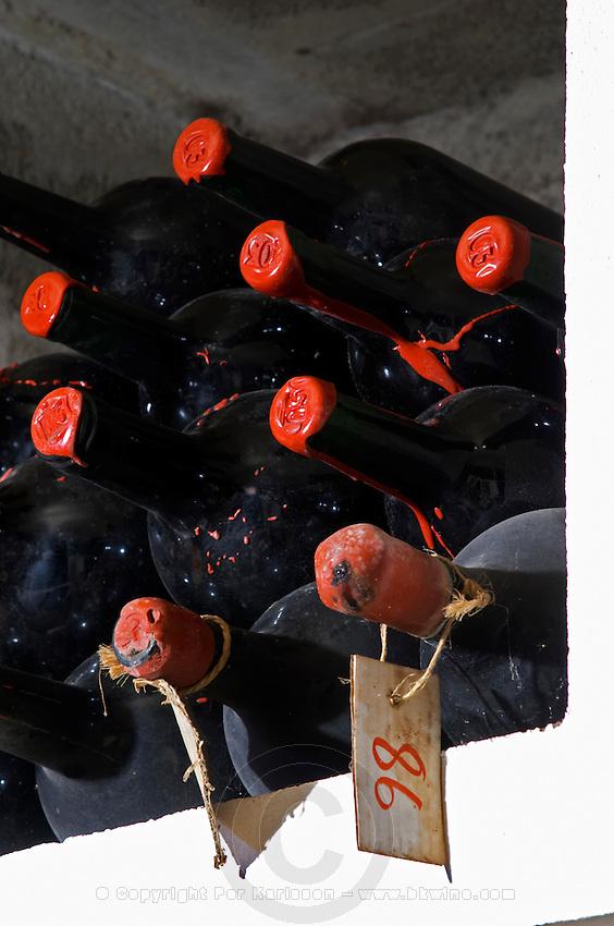 Bottles aging in the cellar. 1998. Chateau la Grace Dieu les Menuts, Saint Emilion, Bordeaux, France