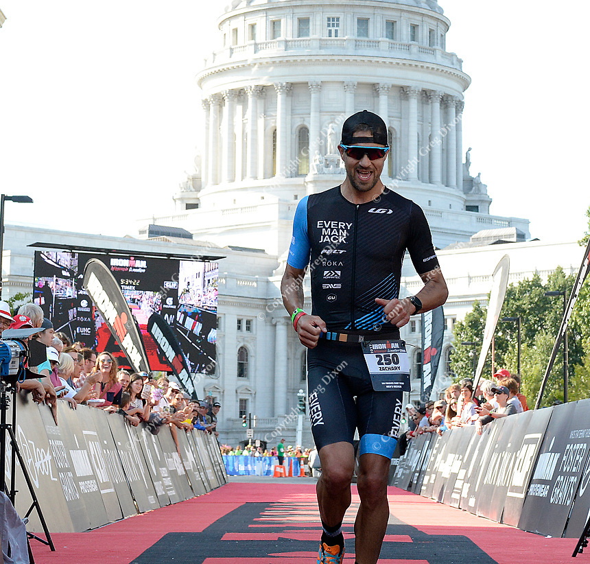 Zachary Carr is the overall winner of the amateur men during the 2017 IRONMAN Wisconsin with a time of 9 hours, 19 minutes, and 22 seconds on Sunday, September 10 in Madison