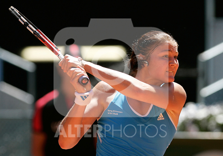 Russia's Dinara Safina celebrates during her Madrid Open final match. May 16, 2009. (ALTERPHOTOS/Alvaro Hernandez)
