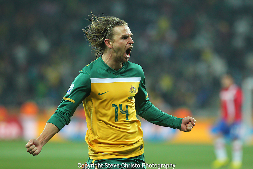 Australia's Brett Holman celebrates scoring the second goal during the match against Serbia at Mbombela Stadium, Nelspruit, South Africa. Wednesday 23rd June 2010. (Photo: Steve Christo)