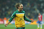 Australia's Brett Holman celebrates scoring the second goal during the match against Serbia at Mbombela Stadium, Nelspruit, South Africa. Wednesday 23rd June 2010. (Photo: Steve Christo)