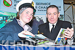 LIFE AT SEA: Students Hannah Finn, Orlaith Crowder and Erin Barclay from Colaiste Ide, Dingle with Joh Bates (l) and Brian Dolan (r) got some expert information about the Navy Corps at the Careers Exhibition in the Brandon Hotel on Thursday..