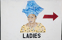 "LADIES. White Dove Hotel, Dzodze. (Volta, GH.) Continental Drift. Color Pencil on paper. 26"" x 40"". Judy Byron. 2013<br /> Photo credit: Rick Reinhard"