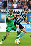 05.08.2019, Carl-Benz-Stadion, Mannheim, GER, 3. Liga, SV Waldhof Mannheim vs. TSV 1860 Muenchen, <br /> <br /> DFL REGULATIONS PROHIBIT ANY USE OF PHOTOGRAPHS AS IMAGE SEQUENCES AND/OR QUASI-VIDEO.<br /> <br /> im Bild: Valmir Sulejmani (SV Waldhof Mannheim #9) gegen Dennis Dressel (TSV 1860 Muenchen #14)<br /> <br /> Foto © nordphoto / Fabisch