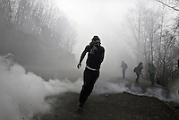 2014 11 23 Riot police breaks up protest outside the gates of Canadian-run gold mine,Skouries,Greece