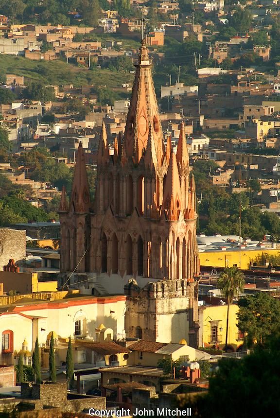 Steeple of the Parroquia de San Miguel Acangel parish church from above,  San Miguel de Allende, Mexico. San Miguel de Allende is a UNESCO World Heritage Site....